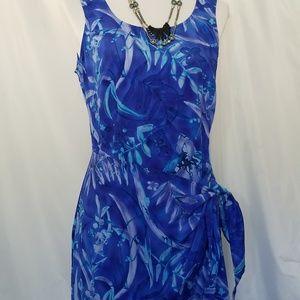 Vintage blue purple floral sarong maxi dress